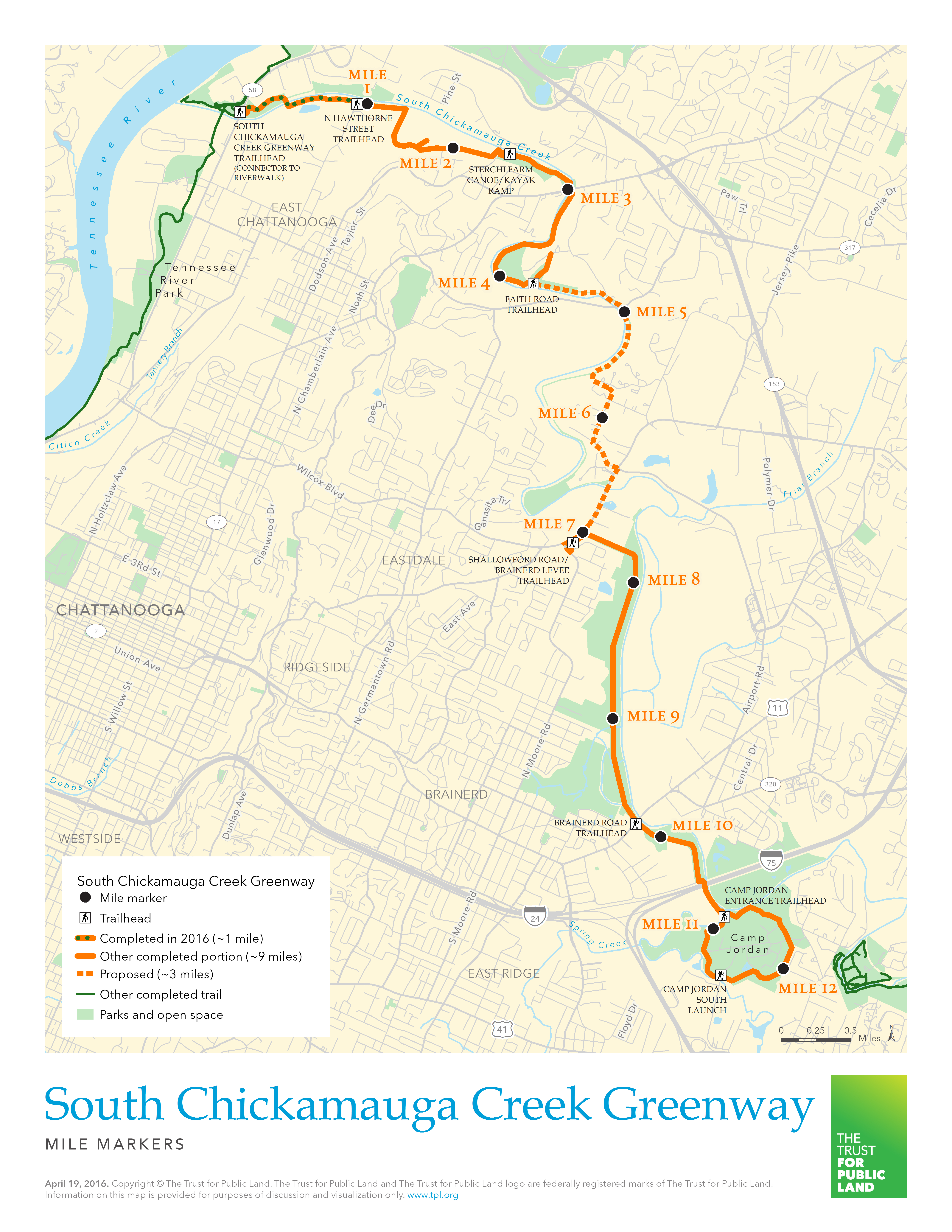 S Chickamauga Greenway Map